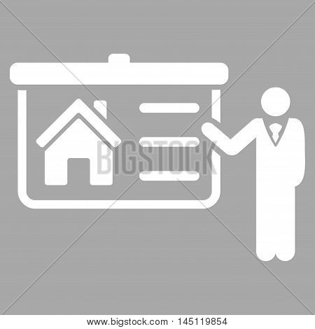 House Presentation icon. Vector style is flat iconic symbol, white color, silver background.