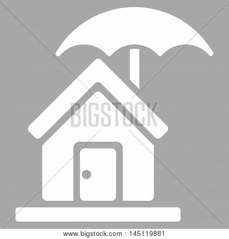House under Umbrella icon. Vector style is flat iconic symbol, white color, silver background.
