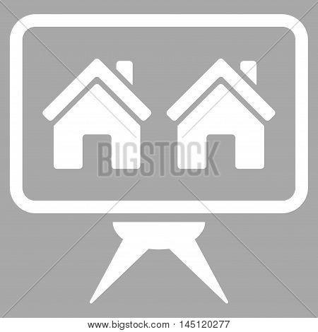 Realty Project icon. Vector style is flat iconic symbol, white color, silver background.