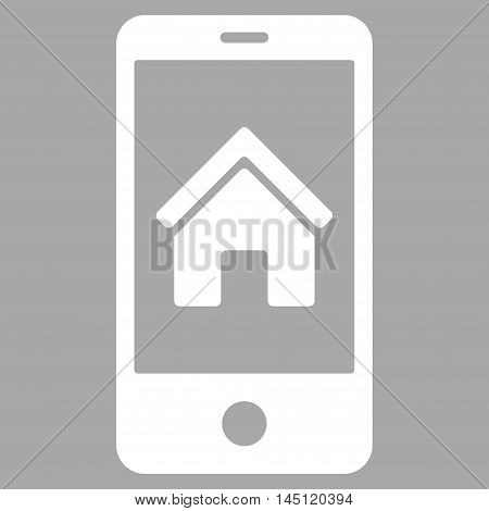 Smartphone Homepage icon. Vector style is flat iconic symbol, white color, silver background.