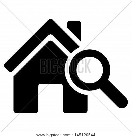 Explore House icon. Vector style is flat iconic symbol, black color, white background.