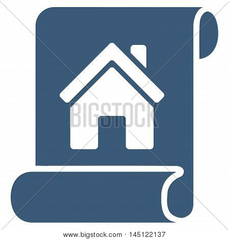 Realty Description Roll icon. Vector style is flat iconic symbol, blue color, white background.