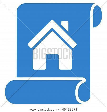 Realty Description Roll icon. Vector style is flat iconic symbol, cobalt color, white background.