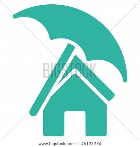 Home under Umbrella icon. Vector style is flat iconic symbol, cyan color, white background.