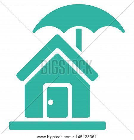 House under Umbrella icon. Vector style is flat iconic symbol, cyan color, white background.