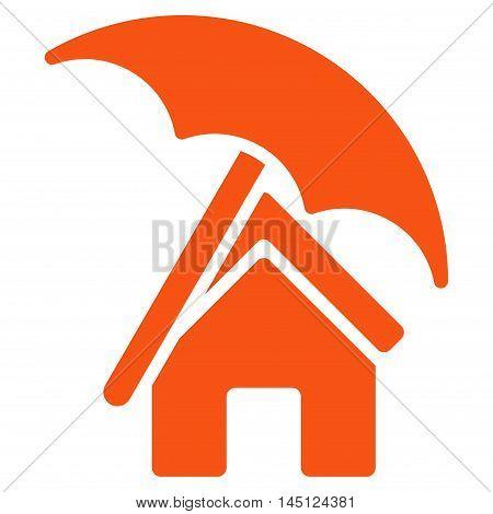 Home under Umbrella icon. Vector style is flat iconic symbol, orange color, white background.