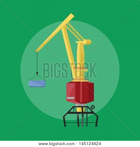 Dockside crane isolated vector icon flat design style