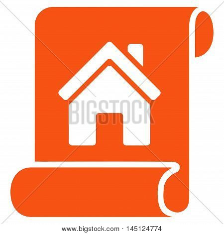Realty Description Roll icon. Vector style is flat iconic symbol, orange color, white background.