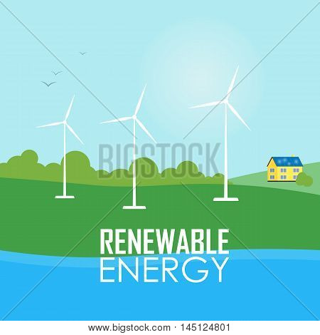 Renewable energy vector illustration. White wind generator turbines on river bank. House with blue solar panels on the roof. Modern alternative energy generation. Ecological types of electricity
