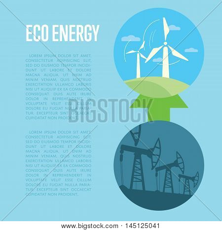Vector illustration of evolution from industrial pollution to eco energy. Wind turbines in green field. Oil industry equipment. Blue ecology infographics template with space for text.