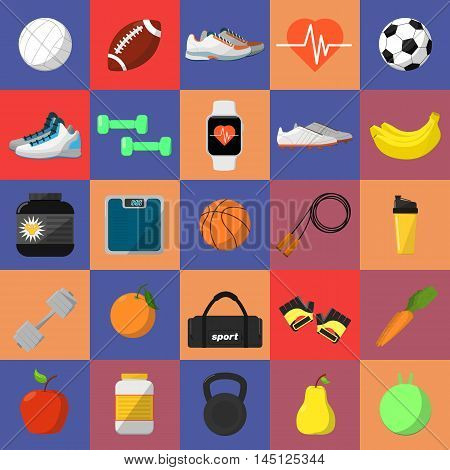 Sports and nutrition vector illustration icons. Athletic equipment, shaker, jump rope, nutrition supplements, fitness tracker bracelet, fruits, dumbbells, sneakers, gloves, etc. Healthy lifestyle