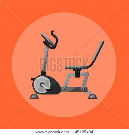 Vector illustration of gym sports equipment icon. Black exercise bike isolated on orange background. Cardio training. Active sport lifestyle. Stationary exercise machine.