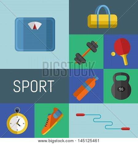 Vector illustration of gym sports equipment icons set. Skipping rope, weight, bag, sports shoes, ping pong paddle, bottle, dumbbell, stopwatch and weigher on color background. Different sport tools.