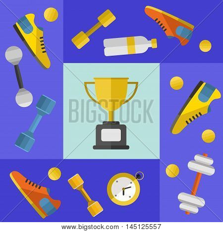 Gold winner cup with sports equipment, vector illustration in flat style. Different athletic equipments around gold trophy cup on blue background. Champion concept
