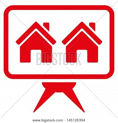 Realty Project icon. Vector style is flat iconic symbol, red color, white background.