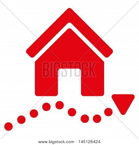 Realty Trend icon. Vector style is flat iconic symbol, red color, white background.