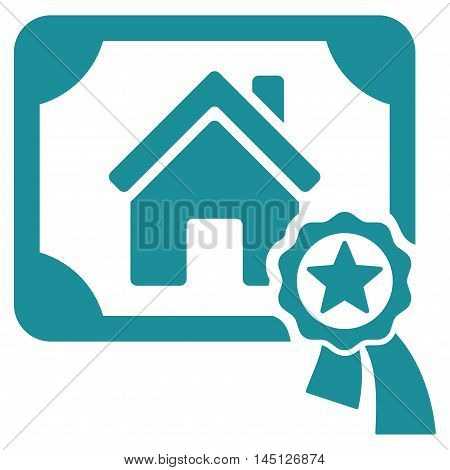 Realty Certification icon. Vector style is flat iconic symbol, soft blue color, white background.