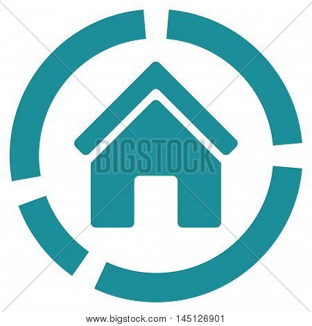 Realty Diagram icon. Vector style is flat iconic symbol, soft blue color, white background.