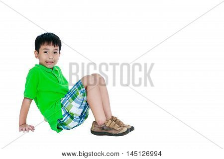 Full Body Of Asian Child Smiling And Looking At Camera, Isolated On White Background.