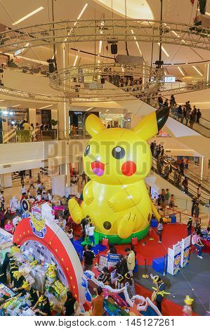 Bangkok Thailand- 10January 2016:Pikachu balloon in Pokemon Festival at Siam Paragon