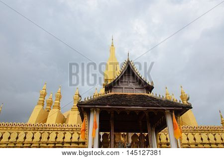 Wat Phra That Luang in Vientiane. Buddhist temple. Famous tourist destination in Asia.