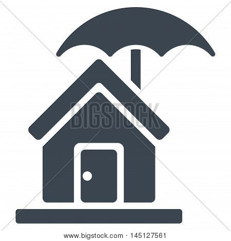 House under Umbrella icon. Vector style is flat iconic symbol, smooth blue color, white background.