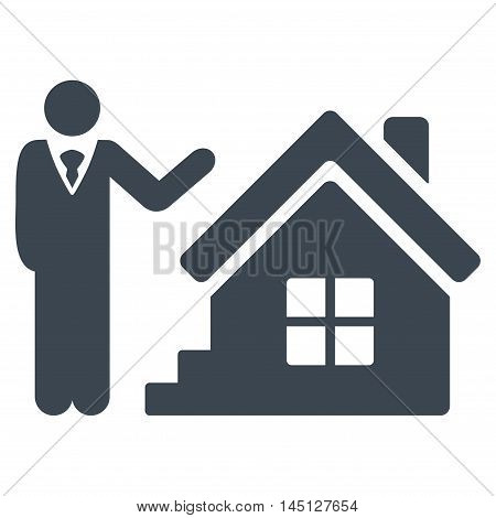 Realty Agent icon. Vector style is flat iconic symbol, smooth blue color, white background.