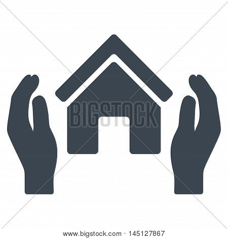 Realty Insurance Hands icon. Vector style is flat iconic symbol, smooth blue color, white background.