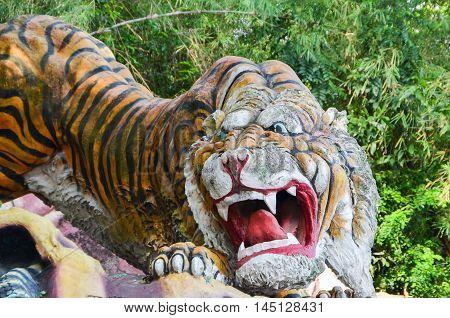 Tiger Statue in the Haw Par Villa gardens