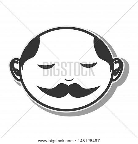 face man moustache bald vector illustration eps 10