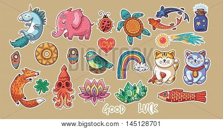 Set of stickers with lucky amulets and happy symbols.