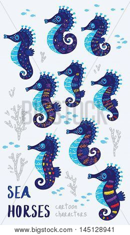Collection of stylized sea horses isolated on white background. Sea horse ocean marine animal art in cartoon style.