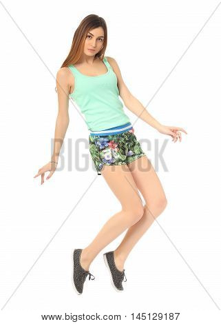 Young Girl In Shorts Posing Isolated On White