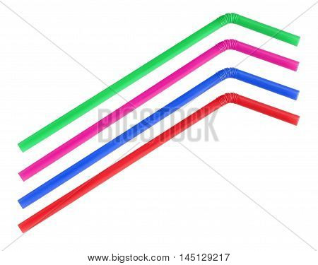 The colorful straws on white background .