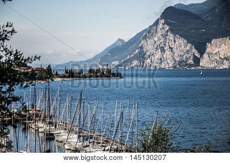 Small Italian town at the Lake Garda with sailing boats 2