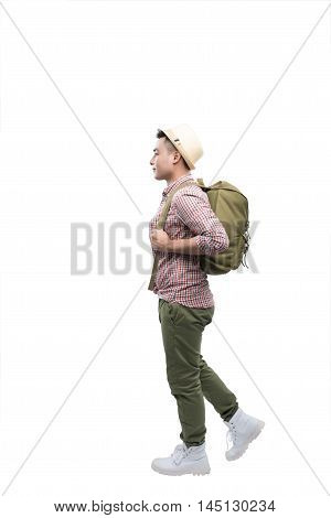 Full-length image of a going asian man ready to travel