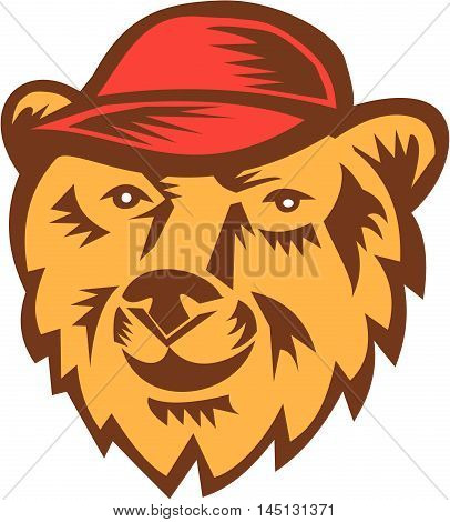 Illustration of a bear head wearing hat viewed from front set on isolated white background done in retro woodcut style.