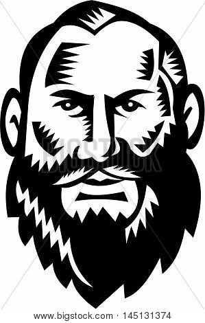 Illustration of a bald head big bearded male man facing front set on isolated white background done in retro woodcut style.