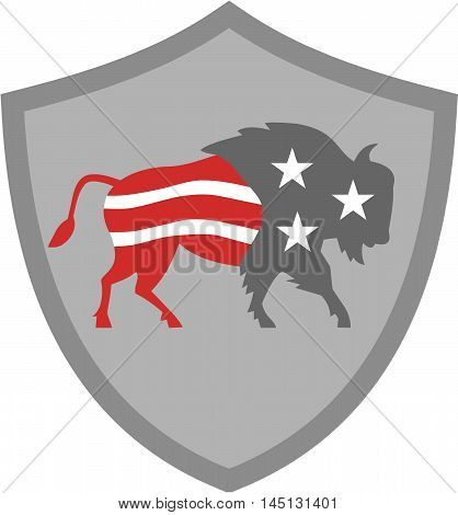 Illustration of an american bison buffalo bull with american stars and stripes flag as part of the body and head viewed from the side set inside shield crest on isolated background done in retro style.