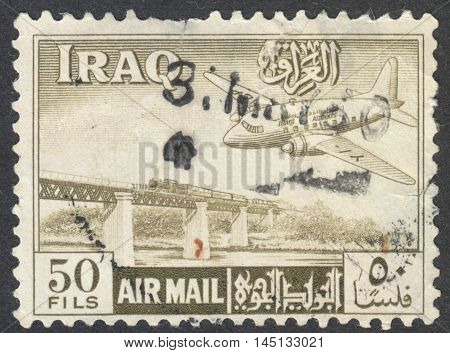 MOSCOW RUSSIA - CIRCA AUGUST 2016: a stamp printed in IRAQ shows an aeroplane circa 1950s