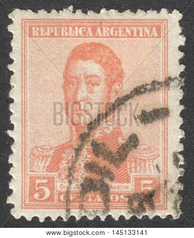 MOSCOW RUSSIA - CIRCA AUGUST 2016: a stamp printed in ARGENTINA shows a portrait of General San Martin the series