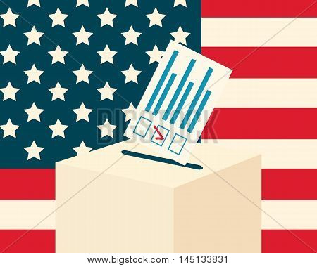 USA election concept. Voting paper and a ballot box with american flag on a background, flat design, vector illustration