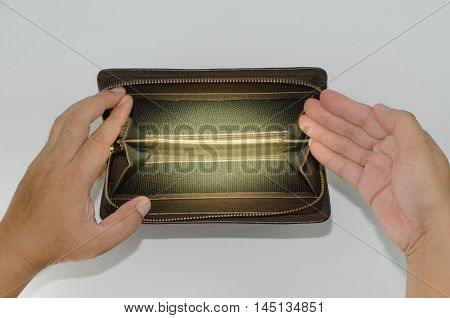 Brown man purse empty isolated on white background