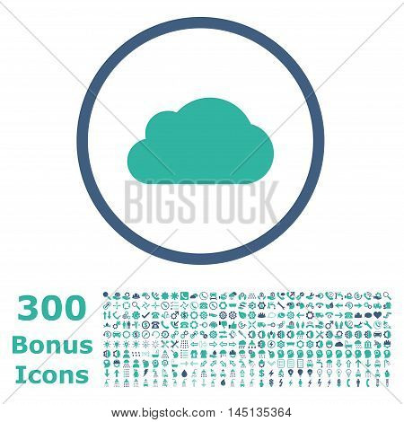 Cloud rounded icon with 300 bonus icons. Glyph illustration style is flat iconic bicolor symbols, cobalt and cyan colors, white background.