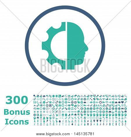 Cyborg Gear rounded icon with 300 bonus icons. Glyph illustration style is flat iconic bicolor symbols, cobalt and cyan colors, white background.
