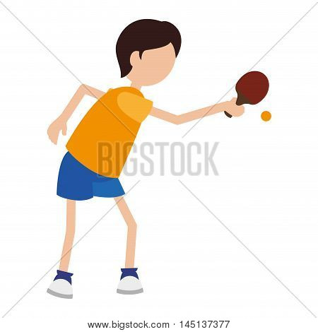 cartoon boy player ping pong vector illustration eps 10