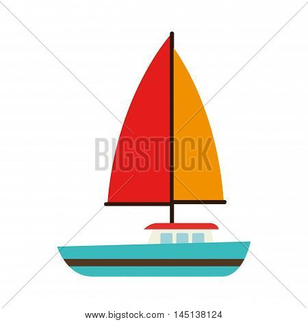 sailing vessel sea isolated design vector illustration eps 10