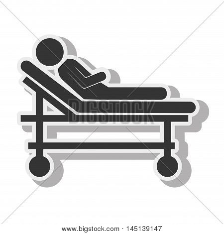 silhouette sick stretcher medical care design vector illustration eps 10