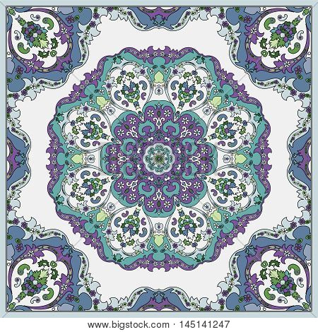 Detailed floral pattern for scarf, shawl, carpet or embroidery. Light background. Vector illustration.