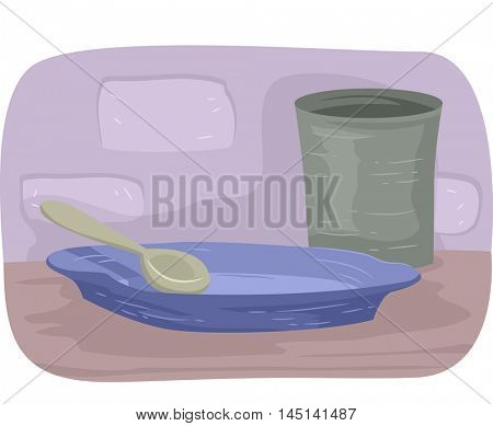 Illustration Featuring an Empty Glass and Plate